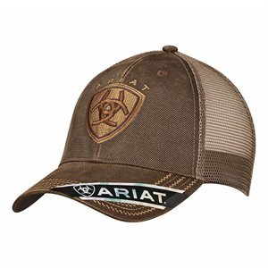 ARIAT LOGO OILSKIN BROWN CAP
