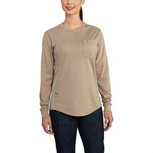 Carhartt FR Ladies Force Cotton L / S Crewneck T-Shirt